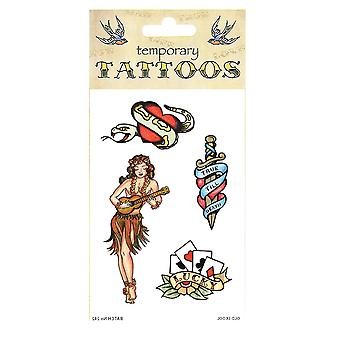 Bristol Novelty Old Skool Theme Temporary Tattoos (Pack Of 10)