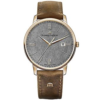 Maurice LaCroix Eliros Brown Leather Strap Grey Dial Men-apos;s Watch