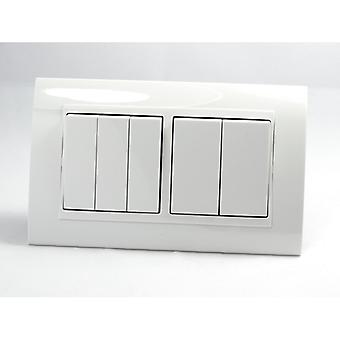 I LumoS AS Luxury White Plastic Arc Double Frame 5 Gang 1 Way Rocker Light Switches