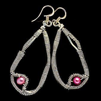 الوردي الأقراط اللؤلؤية المستزرعة 2 1/4 & (925 الجنيه الاسترليني الفضة) - اليدوية بوهو خمر مجوهرات EARR400503
