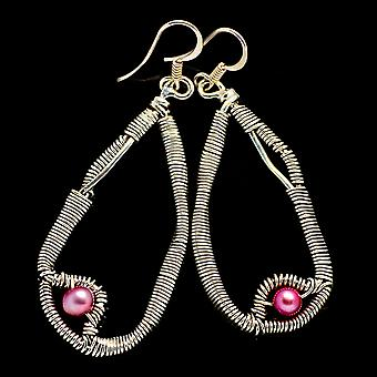 "Pink Cultured Pearl Earrings 2 1/4"" (925 Sterling Silver)  - Handmade Boho Vintage Jewelry EARR400503"