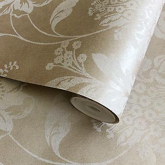 Serene Affabre Jacobean Floral Wallpaper Copper Fine Decor FD65876