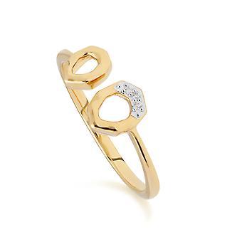 Diamond Asymmetric Open Ring in 9ct Yellow Gold 191R0897029