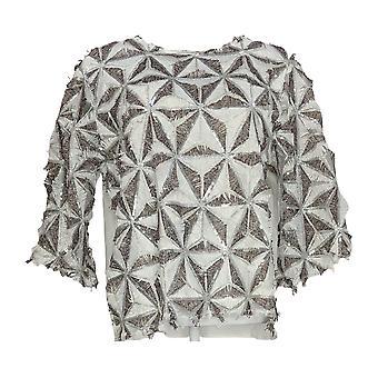 Masseys Women's Top Blouse w/ Verfraaid Detail Wit/Zilver