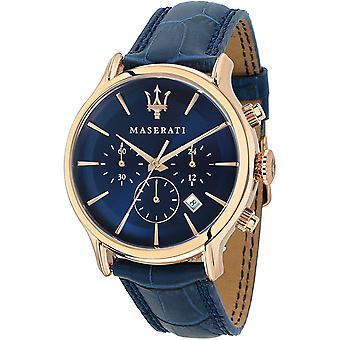 Maserati R8871618007 Epoca Blue Dial Blue Leather Men's Watch