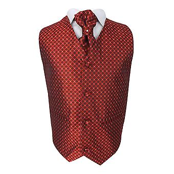 Boys 4 Piece Diamond Design Wedding Waistcoat Suit in Red