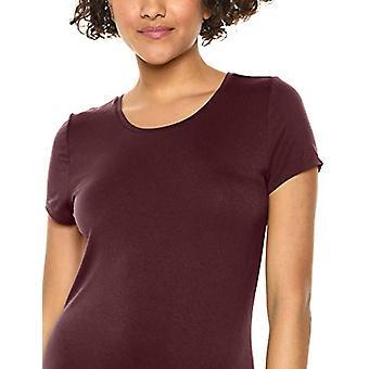 Essentials Women's Solid Short-Sleeve Maxi Dress, Burgundy, L