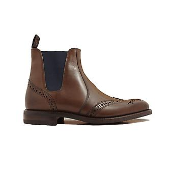 Loake Hoskins Dark Brown Burnished Calf Leather Mens Chelsea Boots