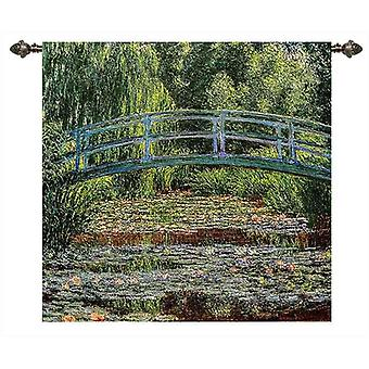 Claude monet - japanese bridge wall hanging by signare tapestry / 73cm x 68cm / wh-cm-jb