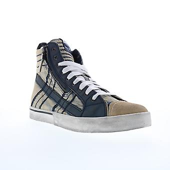 Diesel D-Velows Mid Lace Herren Blau Canvas Casual Fashion Sneakers Schuhe