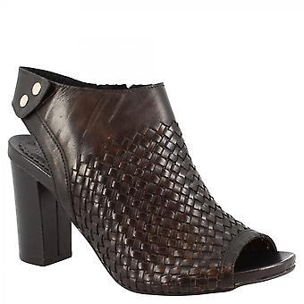 Leonardo Sko Kvinner's håndlaget åpen tå heeled ankelstøvletter i svart vevd skinn med side glidelås