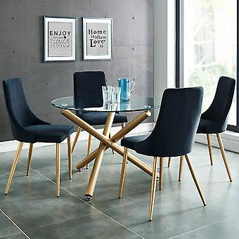 Ensemble repas Asher 5Pc - Table d'or/Chaise grise