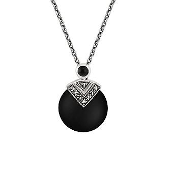 Art Deco Style Round Black Onyx & Marcasite Pendant Necklace in 925 Sterling Silver 214N481701925