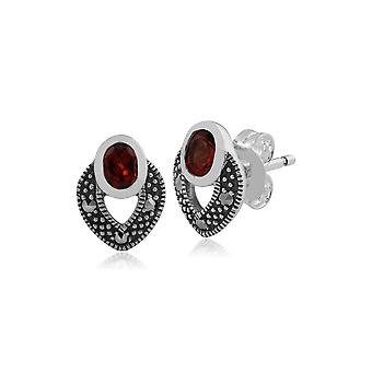 Art Deco Style Oval Garnet & Marcasite Stud Earrings in 925 Sterling Silver 214E717802925