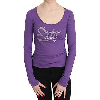 Purple Exte Crystal Embellished Long Sleeve Top Blouse