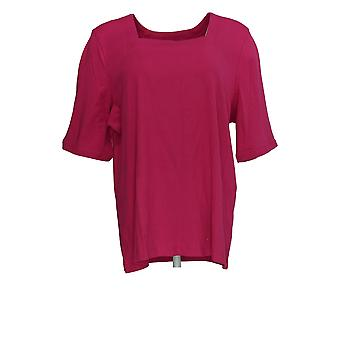 Amadora Women's Top Square Neckline Short Sleeve Fuschia Pink