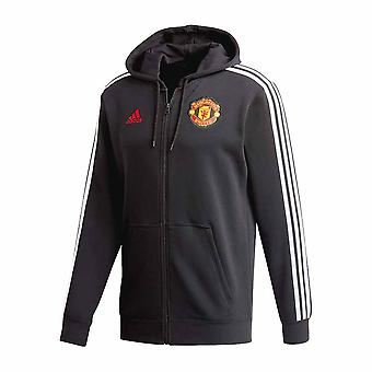 2020-2021 Man Utd Adidas 3S Hooded Zip (Black)