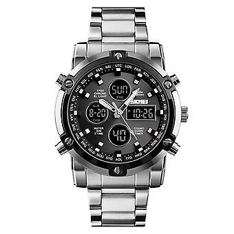 Skmei Sleek Digital Analogue Dual Time Watch Light Stopwatch Alarm Stainless Steel Strap
