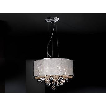 Schuller Andreda - 6 Light Crystal Ceiling Pendant Cylindrical Mesh Cromato polacco, G9