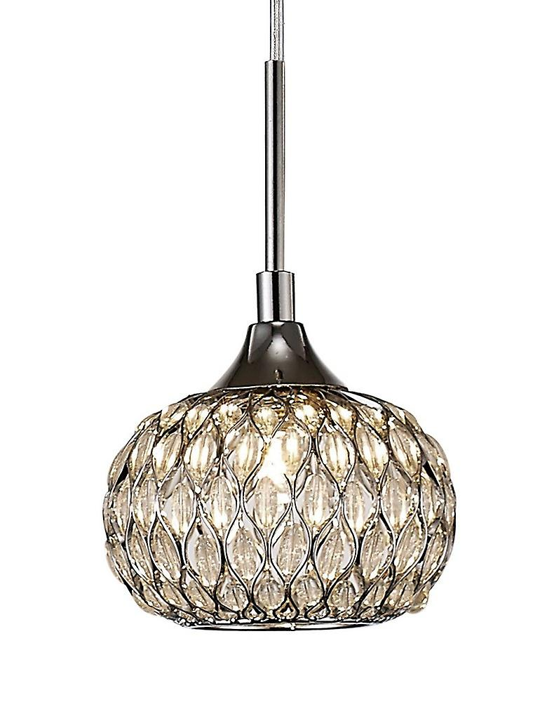 Inspired Diyas - Chelsie - Small Ceiling Pendant 1 Light Polished Chrome, Clear Glass