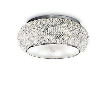 10 Light Ceiling Flush Light Chrome, Cristallo, E14