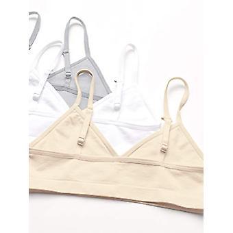 Essentials Girls' 3-Pack Nahtloses Trainings-BH, weiß/nude/grau