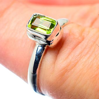 Peridot Ring Size 6.5 (925 Sterling Silver)  - Handmade Boho Vintage Jewelry RING26840