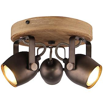 BRILLIANT Lamp Tool Spotrondell 3flg. zwart staal | 3x PAR51, GU10, 35W, geschikt voor reflectorlampen niet inbegrepen