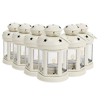 Nicola Spring Candle Lanterns Tealight Holders Metal Hanging Indoor Outdoor - 16cm - Cream - Set 6
