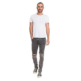 Jeans en denim froissé pour hommes et apos avec déchirures du genou - ajustement mince avec étirement - noir