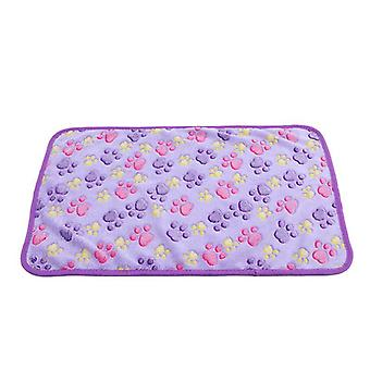 Pet Fleece Blanket for Puppy Dog & Cats Paw Printed Washable Soft Warm S/M/L