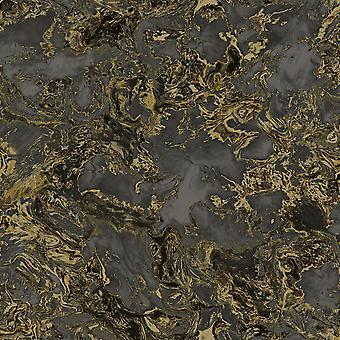 Fond d'écran en marbre liquide Noir / Or Debona 6357