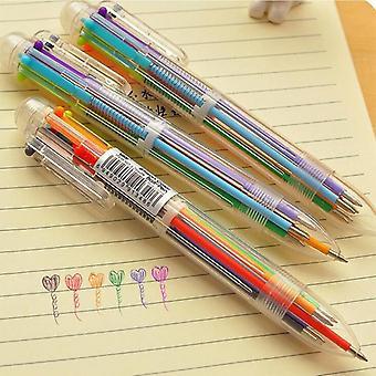 6 في 1 قلم ملونة، قرطاسية متعددة الوظائف لأطفال المدارس