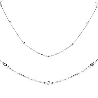 "1/4ct Diamonds Bezel Station Necklace 18"" 14K White Gold Womens"