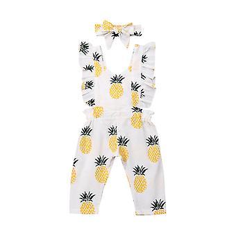 Neugeborene Nneugeborened Baby Kleidung Sleevless Rüsche Ananas Print Strampler Overall Stirnband