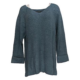 Nina Leonard Women's Sweater V-Neck Long-Sleeve Tunic Blue 682-362