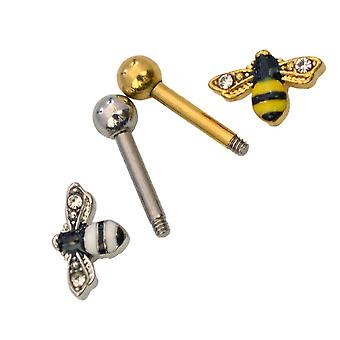 Bumble bee cartilage piercing barbell helix, tragus, cartilage - 16ga 1/4-6mm
