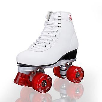 الأسطوانة ذات الصفين، وأربعة عجلات أحذية التزلج على الجليد للبالغين، والرجال والنساء، في الهواء الطلق