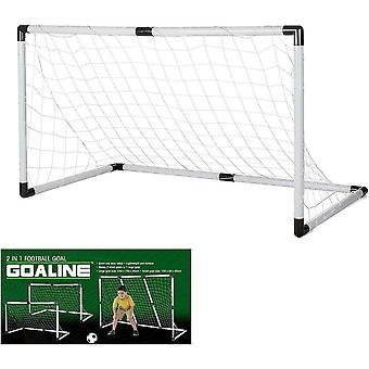 Jalkapallo tavoite asetettu muunnettava tavoite tehdä 1 iso tai 2 pientä maalia + pallo ja pumppu