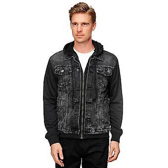 Men Denim Jacket Slim Fit Transition Hood Zip Button Pockets Design Outdoor Style