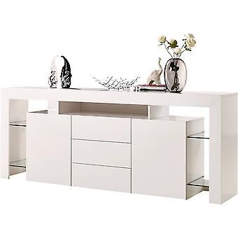 Mueble LED - 200 x 42 x 86 cm - Blanco lacado