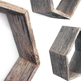 Sæt med 3 Sekskant rustikke naturalvitede grå træ open box hylde