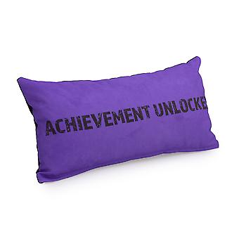 Game Over Achievement Unlocked Slogan - Purple   Gaming Cushion   Foam Crumb Filled   Water Resistant   Bedding and Sofa   Home D�cor
