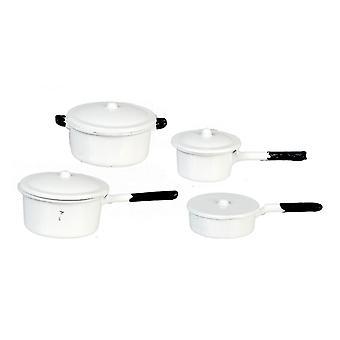 Puppen Haus weiße Saucepan Pan Set Miniatur Küche Zubehör