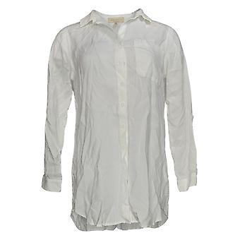 Side Stitch Women's Top XXS Petite Button Front Tunic W/ Pocket White a375110