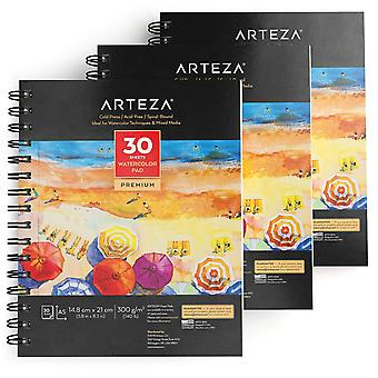 Aquarelle Arteza pad a5 (14,8 x 21 cm), ensemble de 3, 30 feuilles chacune de papier pressé à froid, sans acide,