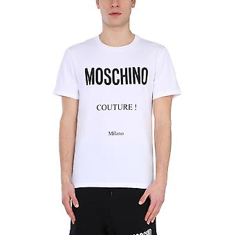 Moschino 073020391001 Heren's White Cotton T-shirt