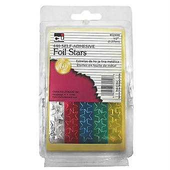 Foil Star Labels, Self-Adhesive, 1/2 Inch Metallic Star Stickers, Assorted Colors, 440/Box