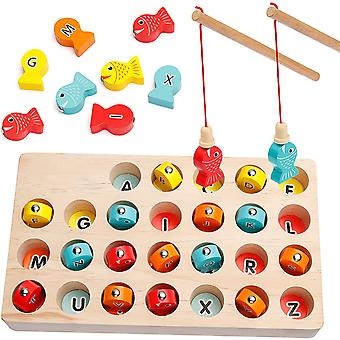 Wooden Magnetic Abc Alphabet Color Sorting Fishing Game Puzzle