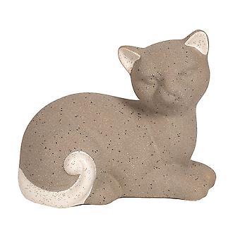 Straits Lying 15.5 X 12cm Grey Cat Figurine